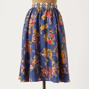 Anthropologie Goldfield Floral Silk Skirt